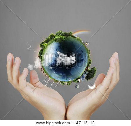 Globe ,earth in human hand, hand holding our planet earth glowing. Earth image provided by Nasa