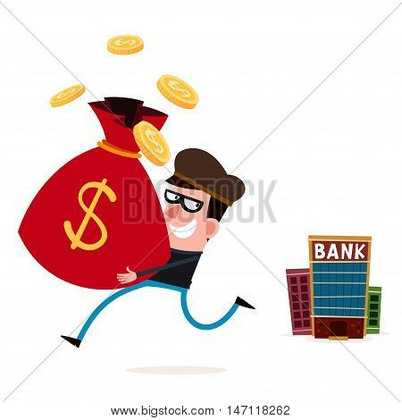 tricky thief stealing money from bank vector illustration for various business concept