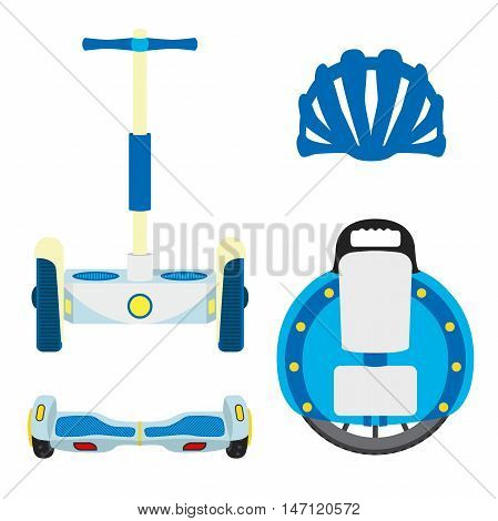 Set of modern eco vehicles. Monowheel, unicycle, segway, scooter wheels on white background. Urban transport in flat style. Isolated vector illustration.