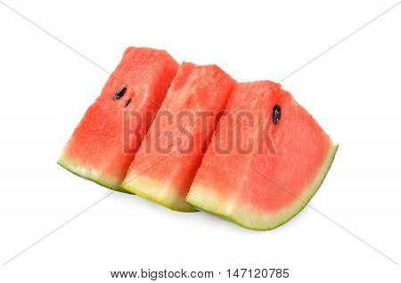 sliced watermelon with seed on white background