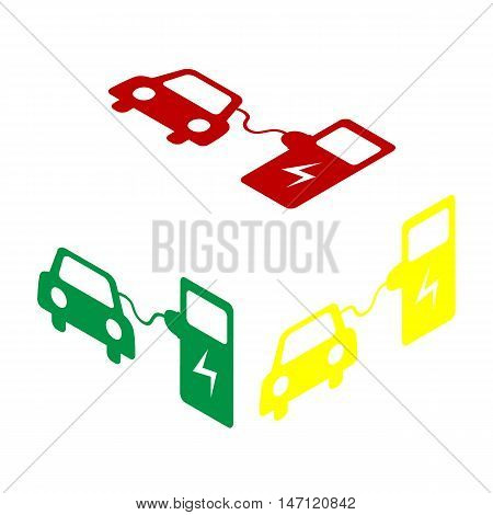 Electric Car Battery Charging Sign. Isometric Style Of Red, Green And Yellow Icon.