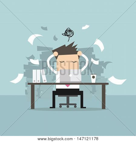 Busy time of businessman in hard working. A lot of work. Stress at work. vector