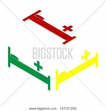 Hospital Sign Illustration. Isometric Style Of Red, Green And Yellow Icon.