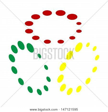 Circular Loading Sign. Isometric Style Of Red, Green And Yellow Icon.