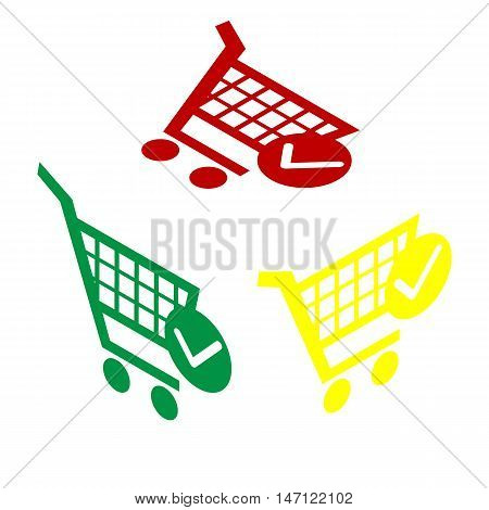 Shopping Cart With Check Mark Sign. Isometric Style Of Red, Green And Yellow Icon.