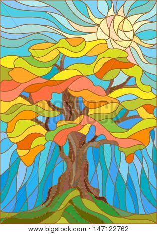 Illustration in stained glass style with autumn tree on sky background and sun