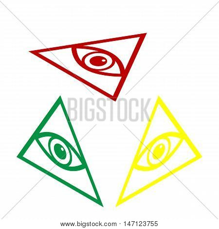 All Seeing Eye Pyramid Symbol. Freemason And Spiritual. Isometric Style Of Red, Green And Yellow Ico