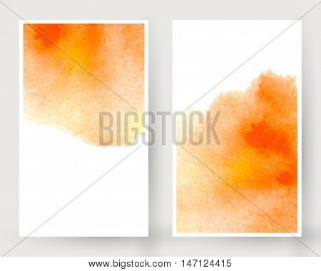 Vector set of vertical banners with watercolor splash. Orange watercolour design cards set