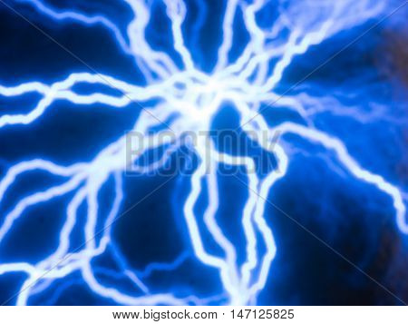 Picture of random glowing blue electric currents traces