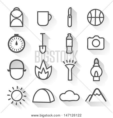 Camping monochrome linear icons set with  mountain and wheather signs hiking gear isolated vector illustration