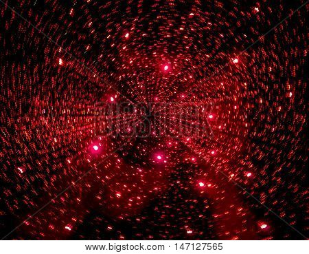 Picture of moving galaxy like looking red lights