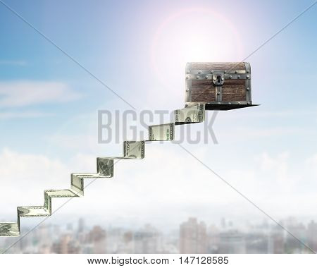 Old Treasure Chest On Money Stairs, 3D Rendering