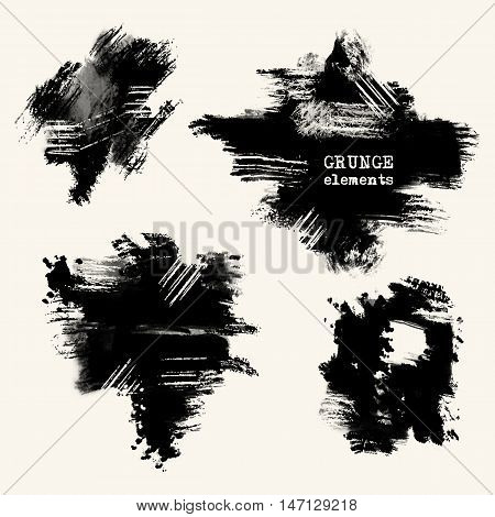 Vector set of black brush strokes. Grunge isolated elements. Smoke brushes for your design. Freehand. Watercolor splash. Acrylic stamp. Vector illustration
