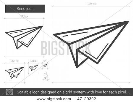 Send vector line icon isolated on white background. Send line icon for infographic, website or app. Scalable icon designed on a grid system.