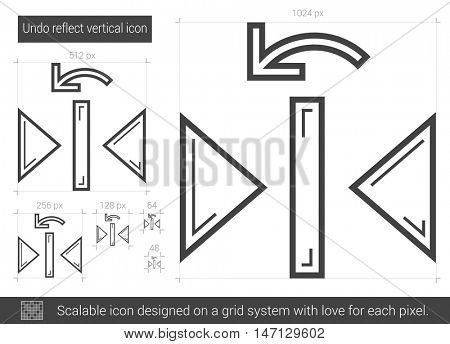 Undo reflect vertical vector line icon isolated on white background. Undo reflect vertical line icon for infographic, website or app. Scalable icon designed on a grid system. poster