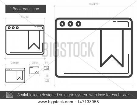 Bookmark vector line icon isolated on white background. Bookmark line icon for infographic, website or app. Scalable icon designed on a grid system.