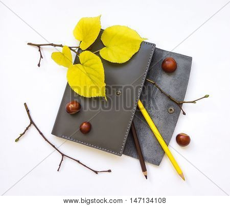 Closeup of leather pen case with pencils on white background. Decorated with autumn yellow leaves and branches. Top view flat lay