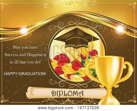 Elegant Graduation greeting card, also for print. Contains Graduation cap, crocus flowers, diploma, cup and decorative elements. Print colors used; Size of a standard post card.