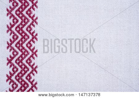Fragment of hand embroidery on canvas. Background. poster