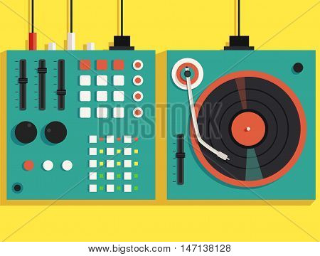 Playing mixing music on vinyl turntable. Vector flat illustration. Equipment deck and mixer. Retro style. sound and party. Modern music