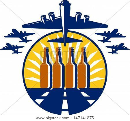Illustration of a B-17 Flying Fortress a World War two American four-engine heavy bomber taking off and in full flight with beer bottles in the runway and sunburst in the background set inside circle done in retro style.
