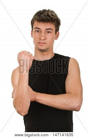 young man showing cubital sign. Synonym sign of middle finger