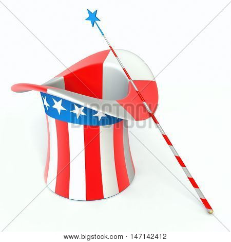 Hat uncle sam and magic wand. 3d render illustration.
