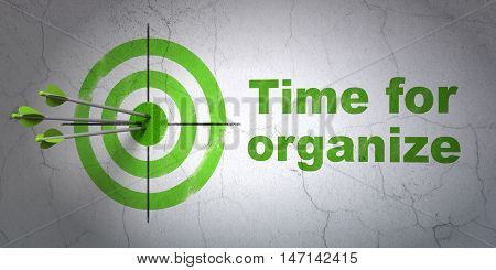 Success time concept: arrows hitting the center of target, Green Time For Organize on wall background, 3D rendering
