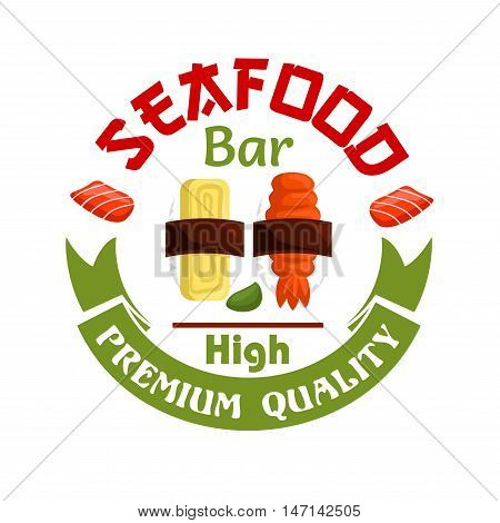 Japanese Seafood bar icon. Sushi and wasabi with green ribbon. Oriental cuisine design for restaurant, eatery and menu. Advertising sticker for door signboard, poster, leaflet, flyer