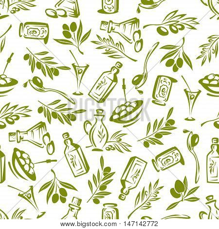 Olives branches with leaves and olive oil seamless background. Vector decor elements for wallpaper, kitchen tablecloth, wrapper, restaurant decoration