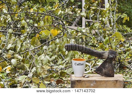 Ax and coffee mug in the foreground and fallen treed and branches in the background filtered shot