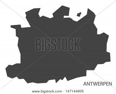 Antwerpen Belgium Map in grey vector high res