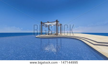 3D rendering image of daybed and wooden tent which cover by fabric on terrace sea view infinity swimming pool curtain being blow by wind