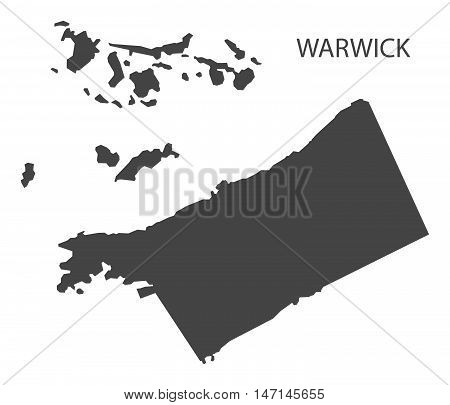 Warwick Bermuda Map in grey vector high res