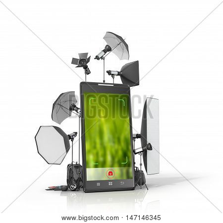 Concept photo studio photographic equipment placed near the smartphone. 3D illustration