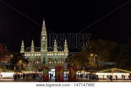 VIENNA, AUSTRIA - NOVEMBER 13, 2015: Traditional Christmas market at Rathaus at night