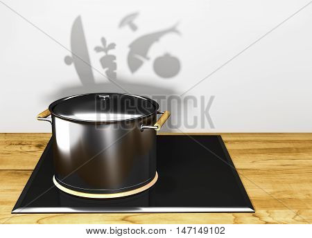 closed pot with lid on the stove electric throwing a shadow in the shape of pot with the lid open fungus fish carrots and onions 3D illustration