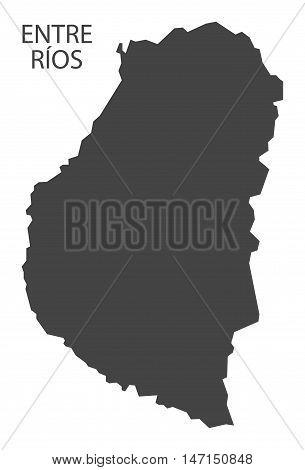 Entre Rios Argentina Map grey vector high res