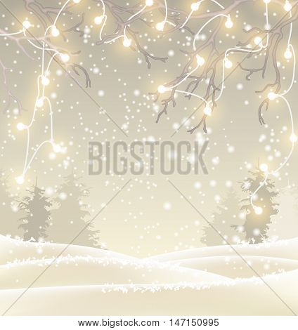 Christmas background in sepia tone, winter landscape with sillhouette of trees and hanging decorative electric lights on branches, vector illustration, eps 10 with transparency and gradient meshes