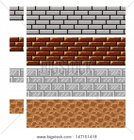 Texture for platformers pixel art vector - brick stone and steel wall isolated on white
