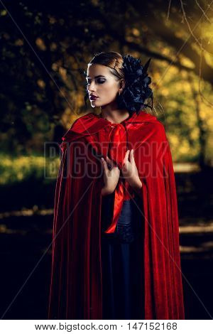 Beautiful brunette woman in black old-fashioned dress and red cloak walking in the thicket of the magic forest. Gothic style. Fashion.