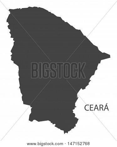Ceara map grey brazil vector high res