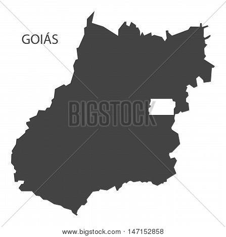 Goias map grey brazil vector high res