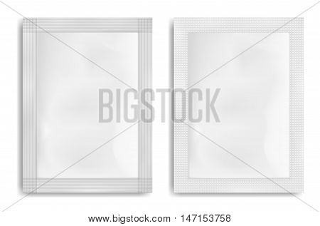 White empty plastic packaging. Blank foil or plastic sachet for food or medicines.