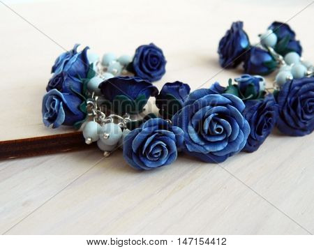 Polymer Clay Bracelet With Roses