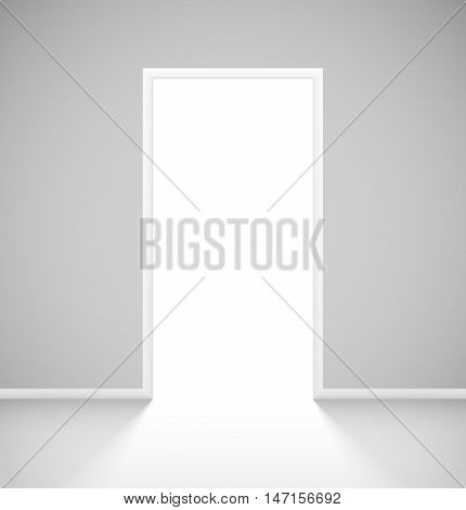 White realistic open door with light in empty room interior. Vector illustration