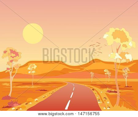 an illustration of a hot australian landscape at sunset with tarmac road hills and eucalyptus trees under a yellow sun