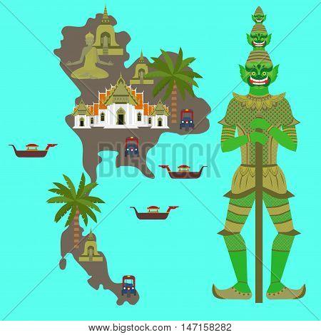 Map with Thailand symbol, marble Temple Benchamabophit, Guardian Giant Yaksha, Buddhist stupa - chedi, Traditional long-tail boat, Thai taxi vehicle Tuk Tuk, sculpture of Buddha
