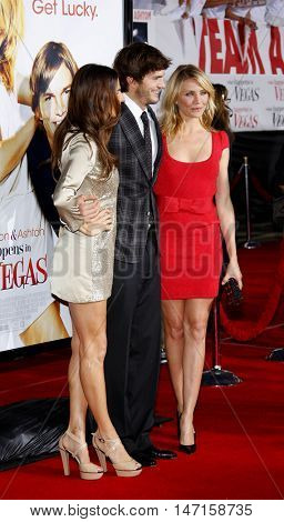 Lake Bell, Cameron Diaz and Ashton Kutcher at the World premiere of 'What Happens in Vegas' held at the Mann Village Theater in Westwood, USA on May 1, 2008.