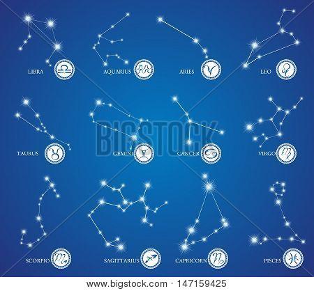 Zodiac Design. Horoscope set: Leo, Virgo, Scorpio, Libra, Aquarius, Sagitarius, Pisces, Capricorn, Taurus, Aries, Gemini, Cancer. Vector illustration